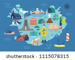 map of iceland with touristic... | Shutterstock .eps vector #1115078315