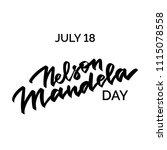 nelson mandela day hand written ... | Shutterstock .eps vector #1115078558