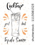 tequila sunrise cocktail. hand... | Shutterstock .eps vector #1115081525