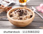 bowl with tasty oatmeal and...   Shutterstock . vector #1115083202