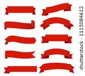 banner red ribbons set white... | Shutterstock .eps vector #1115084612
