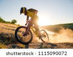 professional cyclist riding the ... | Shutterstock . vector #1115090072