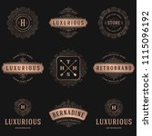 luxury logos templates set ... | Shutterstock .eps vector #1115096192