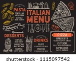pizza restaurant menu. vector... | Shutterstock .eps vector #1115097542