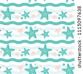 starfish and wave illustration...   Shutterstock .eps vector #1115097638