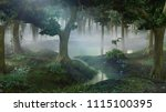 Foggy Fantasy Forest With Pond...