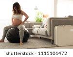pregnant woman doing relax... | Shutterstock . vector #1115101472