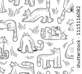 seamless pattern with funny... | Shutterstock .eps vector #1115116082