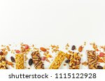 granola bars isolated on white... | Shutterstock . vector #1115122928