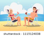 couple on the beach at tropical ... | Shutterstock .eps vector #1115124038