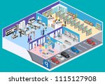 isometric interior shopping... | Shutterstock .eps vector #1115127908