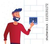 a man using smart home control... | Shutterstock .eps vector #1115131172