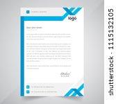 simple blue color vector letter ... | Shutterstock .eps vector #1115132105