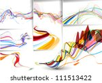 set of abstract wave line...