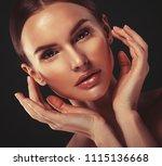 beauty woman face portrait....   Shutterstock . vector #1115136668