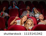 group of friends sitting in... | Shutterstock . vector #1115141342