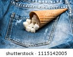 waffle cone with refined sugar... | Shutterstock . vector #1115142005