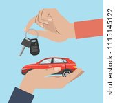 people buy car. hands with red... | Shutterstock . vector #1115145122