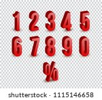 set of 3d red numbers sign. 3d... | Shutterstock .eps vector #1115146658