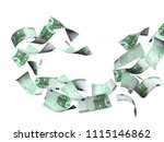 flying banknotes of hundred... | Shutterstock . vector #1115146862