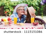 cute little girl kissing her... | Shutterstock . vector #1115151086