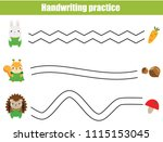 handwriting practice sheet.... | Shutterstock .eps vector #1115153045