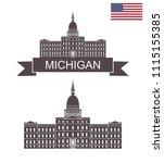 state of michigan. capital... | Shutterstock .eps vector #1115155385