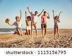 group of excited young friends... | Shutterstock . vector #1115156795