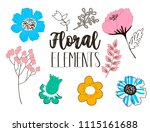 flowers drawing and sketch... | Shutterstock .eps vector #1115161688