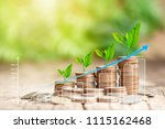 stack of coins and growing... | Shutterstock . vector #1115162468