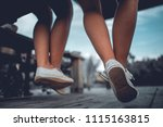 two girls sit down in the... | Shutterstock . vector #1115163815