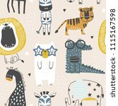 seamless childish pattern with... | Shutterstock .eps vector #1115167598