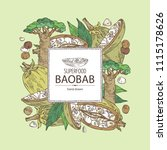 background with baobab  baobab... | Shutterstock .eps vector #1115178626
