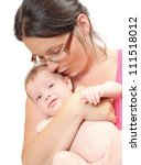 Young mother and her baby. - stock photo