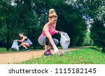 girl crouching with bag picking ... | Shutterstock . vector #1115182145