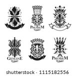royal symbols lily flowers ... | Shutterstock .eps vector #1115182556