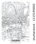 detailed vector poster city map ... | Shutterstock .eps vector #1115190002