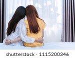 same sex asian lesbian couple... | Shutterstock . vector #1115200346