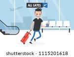 young late passenger running... | Shutterstock .eps vector #1115201618