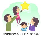 illustration of stickman family ... | Shutterstock .eps vector #1115204756