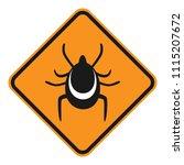 ticks warning sign. rhombus.... | Shutterstock .eps vector #1115207672