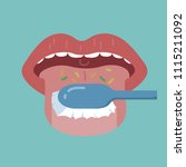 cleaning the tongue by... | Shutterstock .eps vector #1115211092