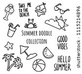 hand drawn summer collection... | Shutterstock .eps vector #1115214896