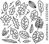 hand drawn leaf doodle... | Shutterstock .eps vector #1115214902