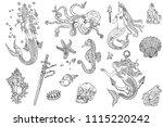 vintage fantasy nautical set ... | Shutterstock .eps vector #1115220242