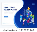isometric web banner mobile app ...