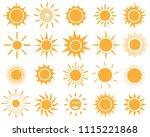 orange sun icon set on white...   Shutterstock .eps vector #1115221868
