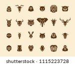 24 animal head icons. unique... | Shutterstock .eps vector #1115223728