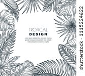 tropical palm leaves vector... | Shutterstock .eps vector #1115224622
