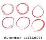 highlight circle.red round mark.... | Shutterstock . vector #1115225795